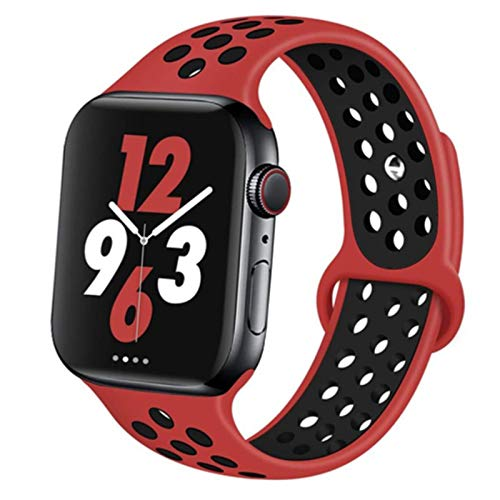 Cinturino sportivo per cinturino Apple Watch 42mm 38mm 44mm 40mm Cinturino in silicone cinturino per Iwatch per Apple Watch 6/5 / Se / 4/3/2/1 44 42 mm,red black 14,42mm-44mm S