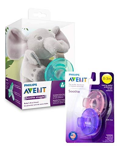 【セット品】Philips Avent おしゃぶり ゾウさんのおしゃぶりホルダーセット+フィリップス Avent Soothie Pacifier おしゃぶり 0-3ヶ月用 2個パック (ピンク&パープル)