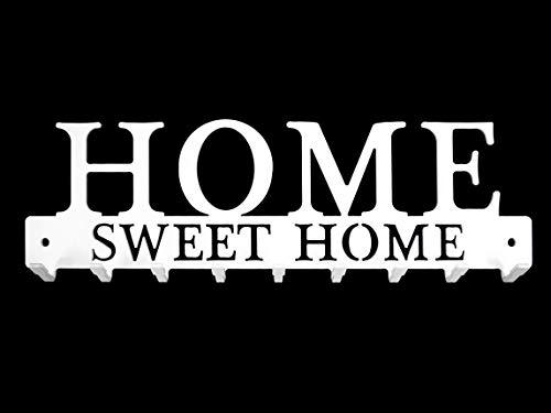 Llavero Pared Hogar Dulce hogar Metal compuesto de 9 ganchos, Artesanal francés, Diseño y decoración moderna, Almacenamiento y organización de la casa, blanco