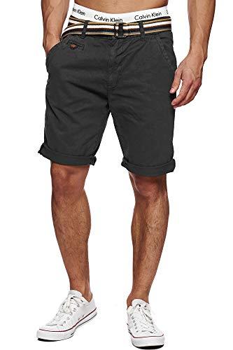 Indicode Herren Cuba Chino Shorts mit 5 Taschen inkl. Gürtel aus 100% Baumwolle | Kurze Hose Regular Fit Bermudas Sommerhose Herrenshorts Short Men Pants Chinohose für Männer Raven XL