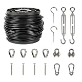 WEWBABY String Light Hanging Kit, Guide Wire for Outdoor String Lights 145 FT Black Vinyl-Coated 304 Stainless Steel Cable Guide Wire for Outdoor Lights 1/16 Wire Rope Kit with Turnbuckle and Hooks
