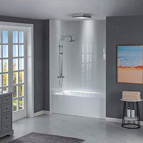 WOODBRIDGE 60-Inch Contemporary Alcove Acrylic Bathtub with Left Hand Drain and Overflow Holes, White, B-1532L