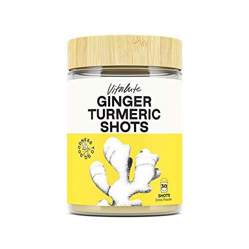 30 Ginger Shots with Turmeric - 30 Shots to Go - No Sugar - Curcumin, Cayenne Pepper & Vitamin C - Powder Drink -