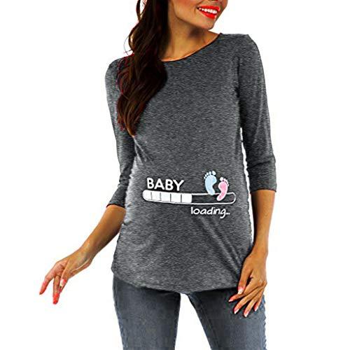 SANFASHION Noël T Shirt Maternité Grossesse,Tops Blouse Vetement Femme Grande Taille Chic Enceinte Col Ronde Slim Élégant Blouses T-Shirt Imprime Wapiti Mode Casual Grossesse