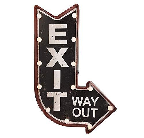 zeitzone Wandleuchte EXIT Way Out LED Beleuchtung Wegweiser Leuchtdeko Nostalgie Vintage