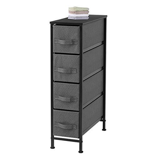 Narrow 4 Dresser Drawer Vertical Dresser Storage Tower with Sturdy Steel Frame Easy Pull Fabric Bins Wood Top Organizer Unit for Bedroom Bathroom Living Room Laundry Closet, Dark Gray