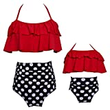 MIAOJIE Traje De Baño para Mujeres Padre-Niño Cintura Alta Cintura De Cintura Bikini Set Halter Damas Traje De Baño Baño De Baño Baño De Baño,#3,Adult XL