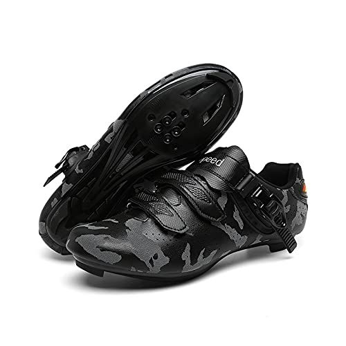 Zapatos De Ciclismo De Caminos para Hombres con Zapatos De Montaña para Mujer con Calzado SPD Compatible Sping Spinning Pelotón Zapatos Interior/Al Aire Libre(Size:46-290mm,Color:Gris Carretera)