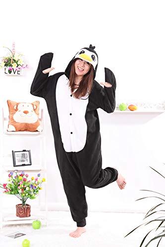 MA Pijama Pingino Negro Kigurumi Onesies Unisex Pijama Adulto Disfraces Cosplay Mono Animal para Hombre-Negro_L