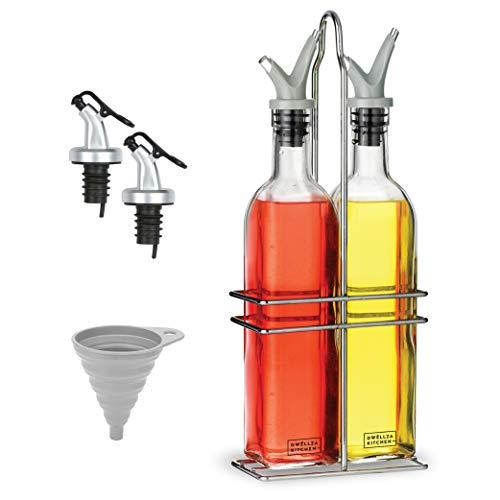 DWËLLZA - Dispensador de aceite y vinagre para cocina, con dos boquillas y embudo extra antigoteo, 500 ml, botellas de vidrio con estante de acero inoxidable
