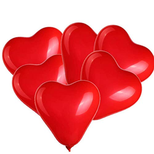 BinaryABC Red Heart Shaped Latex Balloons,Valentine's Day Balloons,Valentine's Day Engagement Wedding Party Decorations,10Inch,50Pcs(Red)