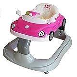 KKJKK Multifunktion Baby Auto Lauflernhilfen Lauflernwagen mit Lenkrad Bremse Musik Überrollschutz Faltbar zum Jungen Und Mädchen, 4 Farben,Rosa