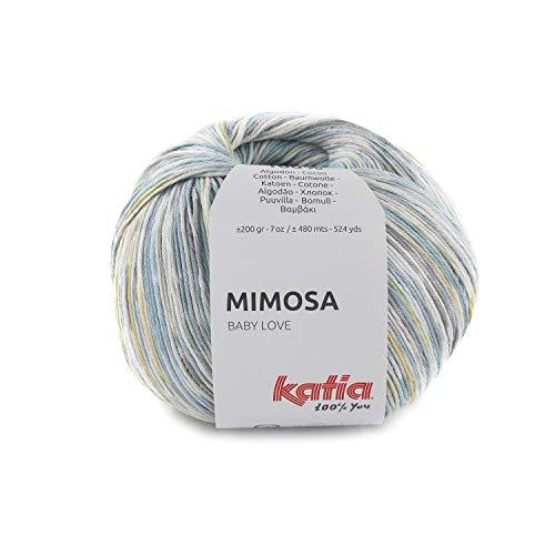 Katia Mimosa - Ovillo de lana para bebé, color 302, 200 g, hilo de algodón, lana de verano con degradado de color Jacquard para punto o ganchillo
