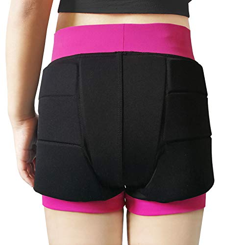 Youper Girls Protective Padded Shorts for Skating, Skateboarding, 3D Protection for Hip & Tailbone Black Pink
