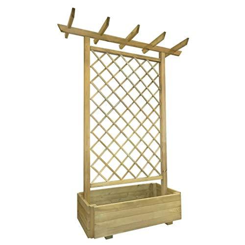 Sunlight - Jardín Pérgola con enrejado para escalar flores balcón, caja de madera, 162x56x204 cm, madera FSC