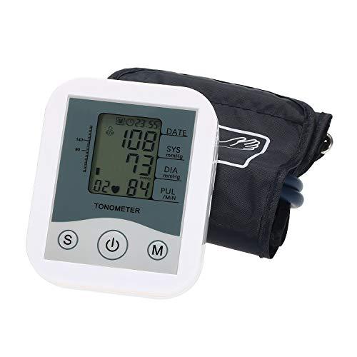 Galapara Tensiómetro de Brazo Digital, Esfigmomanómetro de Brazo Pantalla Digital LCD Monitor de presión Arterial Escaneo de Pulso Oscilometría para medir la frecuencia del Pulso