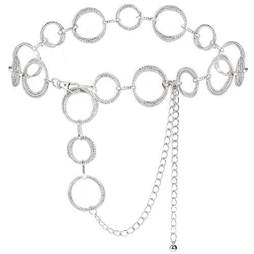 YooAi O-Ring Kettengürtel Taille Gürtel Glieder Für Frauen Metall Link Kette Geschenk Silber 135cm
