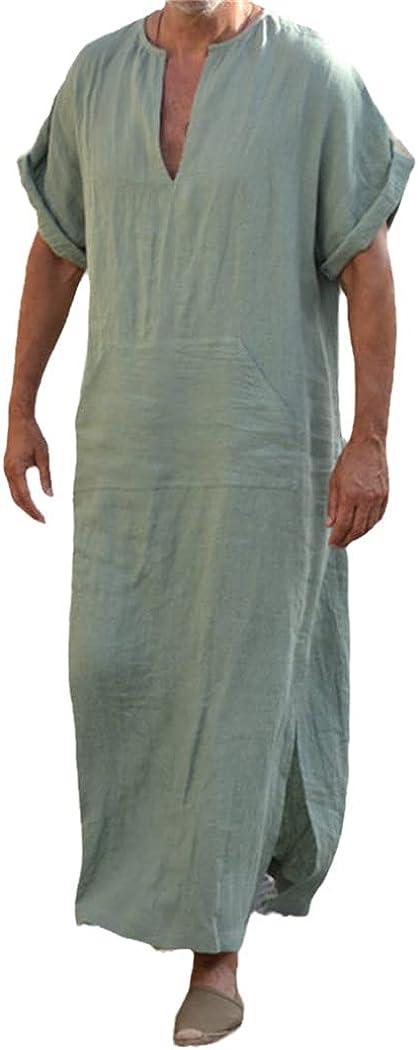 Men Muslim Islamic Robes Kaftan, V-Neck Short Sleeve Solid Cottonthobe, Vintage Plus Size Arabia Abaya