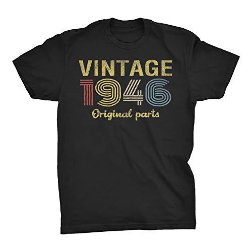 ShirtInvaders 75th Birthday Gift Shirt for Men - Retro Birthday - 1946 Original Parts - 001-F/Black-Md