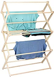 """Pennsylvania Woodworks Clothes Drying Rack: Solid Maple Hardwood Laundry Rack for Shirts, Jeans, Kids Clothing & More, Heavy Duty Folding Drying Rack, Made in USA, No Assembly Needed, Large"""
