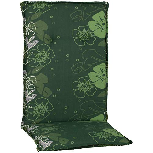 Auflage für Hochlehner in Grün mit Blumen Motiv