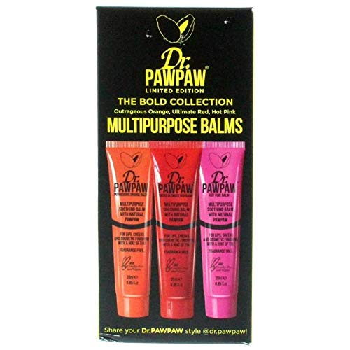 Dr. PAWPAW The Bold Collection Lip Meets Colour Hot Pink, Outrageous Orange & Ultimate Red, 3 x 25ml Gift Set