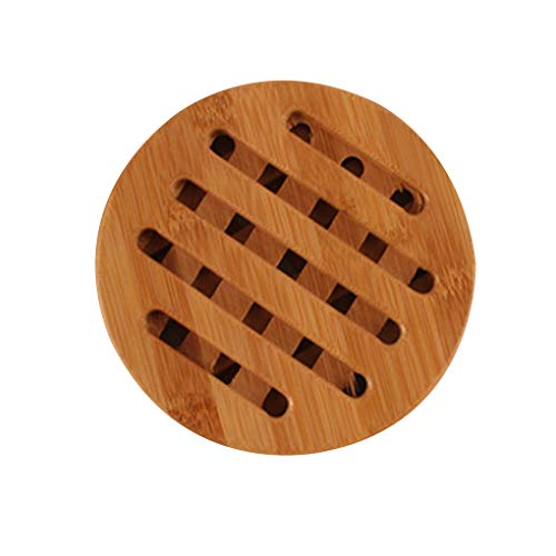 Ruiboury Anti-Slip Bamboo Coaster Heat-Resistant Round Square Cup Cushion Table Protection Mat Pot Holder