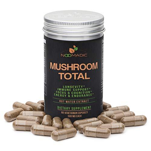 Mushroom Total, 60 Capsules, 500mg, 30% Beta Glucans, Adaptogenic Mushroom Complex of Lions Mane, Turkey Tail, Chaga, Reishi, Cordyceps, Hot Water Extract, Fruiting Bodies.