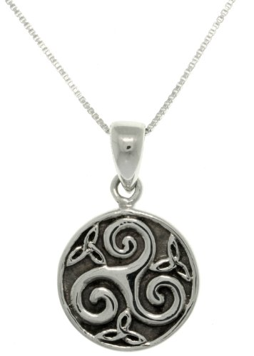Jewelry Trends Celtic Trinity Spiral Triquetra Sterling Silver Pendant Necklace 18'