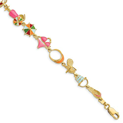 14k Yellow Gold Multi Color Enamel Beach Theme Bracelet 7.25 Inch Seashore Fine Jewellery For Women Gifts For Her