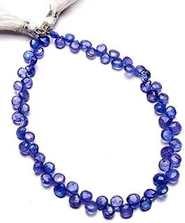 Jaipur Gems Mart Piedras Preciosas de tanzanita Natural 5 mm Tamaño aproximado Facetas en Forma de corazón Briolette Beads...