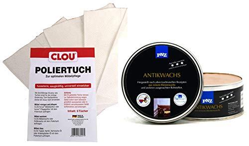 PNZ Antikwachs Bienenwachs Antik Wachs Holzwachs Möbel (0,5L inkl. CLOU Poliertuch, kiefer)