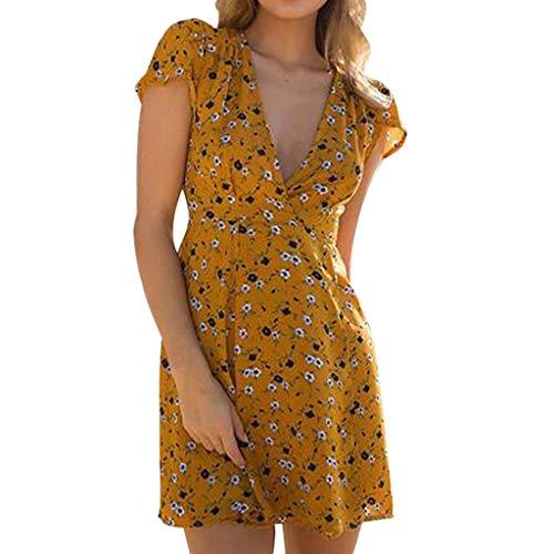COZOCO Vestido de Verano Casual de Las Mujeres Vestido Largo con Cuello en V Boho Estampado Partido Falda de Arena Floral(Amarillo,S)