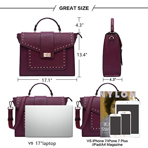 17 Inch Briefcase for Women, Fashionable Laptop Messenger Bag with Computer Bags for College Business Women Work School Business Travel,burgundy-17Inch