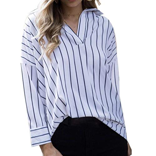 Camisas De Mujer Tops Blusa Otoño De Sexy Manga Modernas Casual Larga con Cuello En V Rayas Imprimir Locker Elegante Botón Tops Camisa (Color : Blanco, Size : M)
