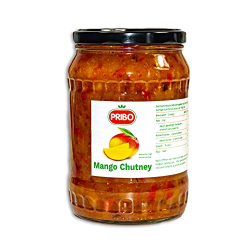 PRIBO Mango-Chutney - 48x 745g Glas - Chutney Mango Sauce fruchtig süße Beilage ideal für die asiatische Küche zu Reis, Hähnchen, Fisch, als Dip, zu Dosa und Idli