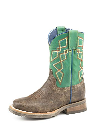 Roper Boys Kids Brown/Green Leather Pattern Cowboy Boots 12
