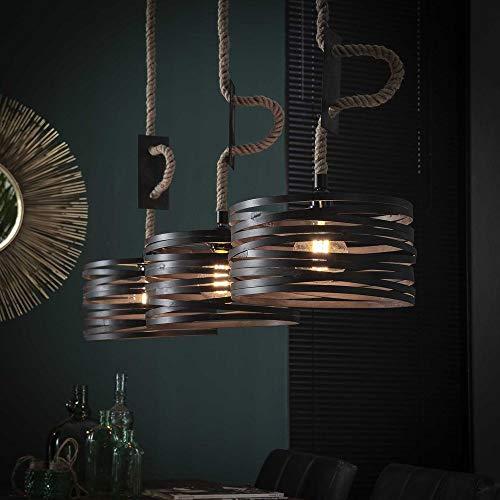 famlights Hängeleuchte | Pendelleuchten grau | Lampenschirm Hängelampe / 3-flammig dimmbar Fassung: E27, Hängelampe Kupfer | Deckenlampe Küche Vintage / Industriell