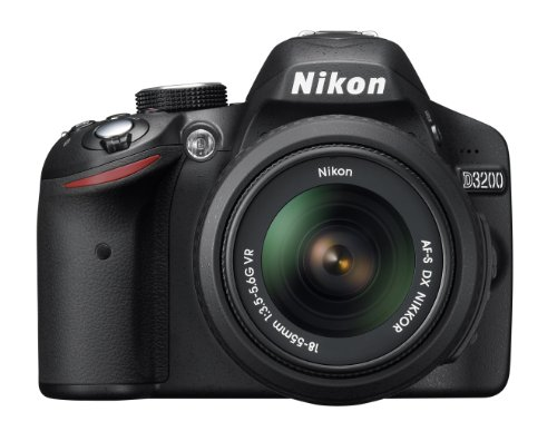 Nikon デジタル一眼レフカメラ D3200 レンズキット AF-S DX NIKKOR 18-55mm f 3.5-5.6G VR付属 ブラック D3200LKBK