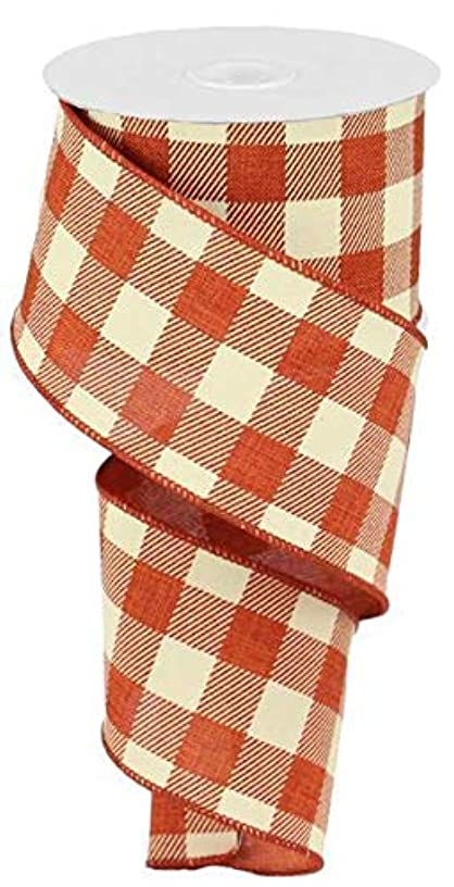 Plaid Check Wired Edge Ribbon, 50 Yards (Rust, Ivory 2.5