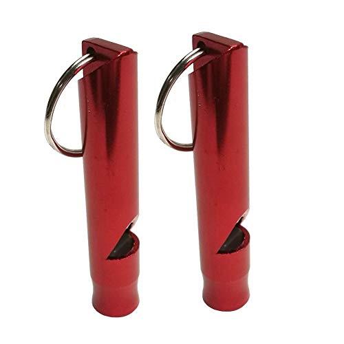 Relajante 2 Piezas de Acampar Kayak Drift Swim Supervivencia de la Emergencia del silbido de aleación de Aluminio con Llave for el Buceo Deportivo Canoa de Agua for Barcos Alegre (Color : Red)