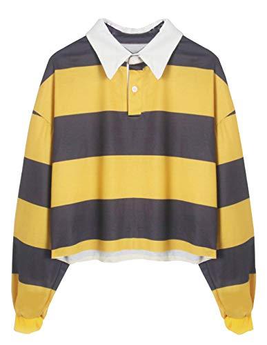 Bauchfreier Pulli Mädchen, Damen Bauchfrei Streifen Pullover Gestreift Langarm Sweatshirt Casual Kurz Crop Tops Oberteile Sweatjacke Shirts Hemd Bluse (Gelb, S)