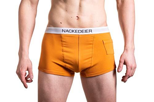 NACKEDEIER 3er Pack Herren Boxershorts KONDOMTASCHE (Feuerorange, XS)