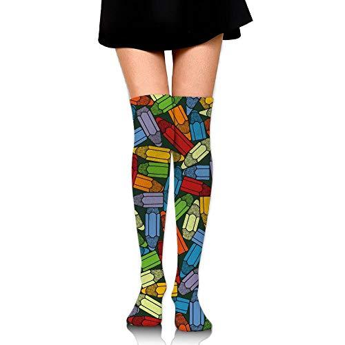 Hdadwy Cartoon Color Pencil Crayon Graffiti Knöchelstrümpfe über dem Knie Womens Sports Athletic Soccer Socks