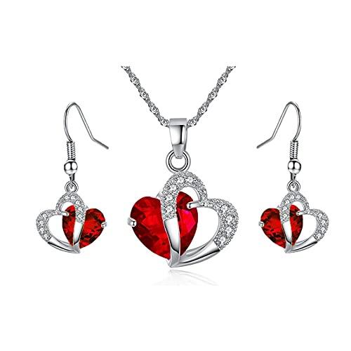 collar Mujeres De Lujo Elegante Collar De Circonio Cúbico Colgante Pendientes Conjuntos Cartílago Piercing Joyería Corazón De La Boda