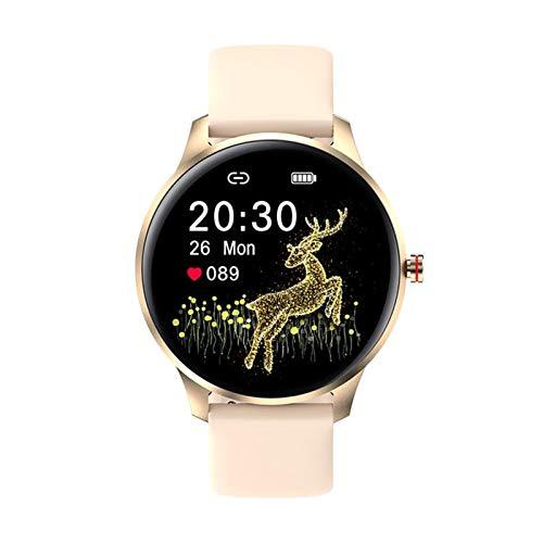 FEDBNET Reloj inteligente Bluetooth, pantalla táctil redonda 10 modos de actividad deportiva, podómetro ritmo cardíaco presión arterial monitoreo del sueño IP68 pulsera impermeable