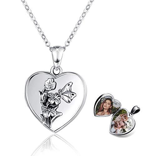 Medaillon Halskette 925 Sterling Silber Herz Foto Bilder Kette Anhänger Halskette Oxidiert Blumen Amulett Familie für Damen Mädchen Mutter