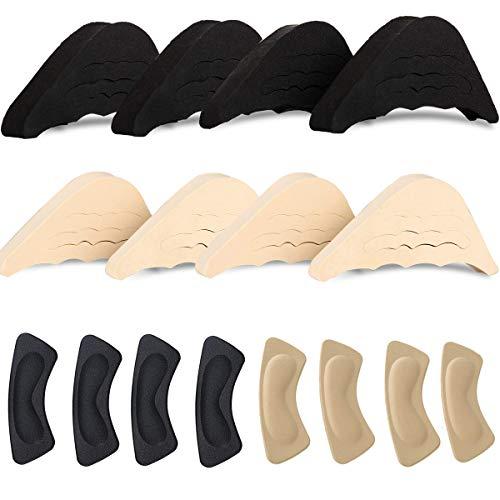 Fiyuer schuhfüller schuhpads 8 Paar fersenhalter Zehen Einlegesohlen Schmerzlinderung Polster für zu große Schuhe schwarz Fleischfarbig