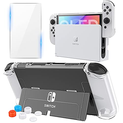 HEYSTOP Case Compatible with Nintendo Switch OLED Model, Dockable PC Protective Case Cover for 2021 Nintendo Switch OLED with 0.25mm Glass Screen Protector and 6PCS Thumb Caps (Clear)