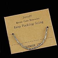 Joycuff Keep Going Morse コードブレスレット レディース ティーン ガールズ ファッション シルク ラップブレスレット シンプル 誕生日ジュエリー ギフト